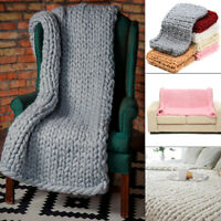 Soft Chunky Knitted Blanket Knit Thick Line Yarn Throw Home Bed Sofa Decoration
