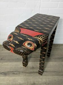 Cat Side table Coffee table BROWN GOLD TABLE CAT FAIR TRADE Hand Made NEW LARGE