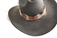 Feather Hatband New Leather Tie Rodeo Fashion Hat Band Horse Show Parade Rsp