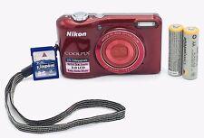 EUC, NIKON Red COOLPIX L28 20.1MP Digital Camera w/ 4GB SD Card + 2 AA Batteries