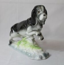 "Vintage Pacific Japan 6.5"" tall Basset Hound Figurine Ceramic Porcelain Black"