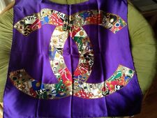 Authentic RARE vintage CHANEL 100% silk large CC Logos Jewelry scarf.