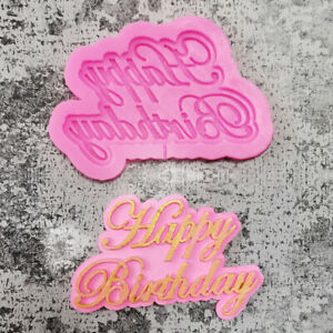 HAPPY BIRTHDAY Silicone Fondant Cake Topper Mold Mould Chocolate Candy Baking