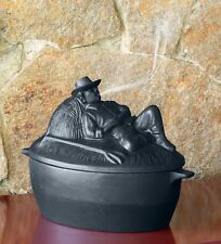 Cast Iron Wood Stove Steamer Kettle / Humidifier with Sleeping Man, in Black