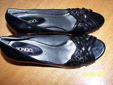 "BONGO BRAND BLACK SYNTHETIC MATERIAL SIZE 8.5M OPEN TOE HEELS 3.5"" TRI-BUCKLE"