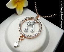 Beautiful Two Tone Rhinestone Ring Love Music Note Heart Necklace 56cm