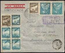 1602 CHILE TO ARGENTINA REGISTERED AIR MAIL COVER 1947 VINA DEL MAR - BS. AIRES