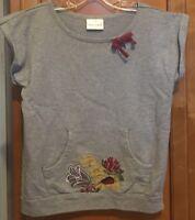 HANNA ANDERSSON Short Sleeve Gray Embroidered Shirt TopGirls Sz 130 (8)