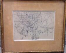 Paul CHARLOT - Dessin signé parc les arbres 1952 original drawing