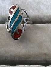 Inlay Turquoise Ring Size 6 Russian Russia Silver 875 Genuine