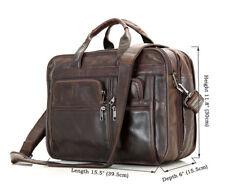 "J.M.D Handmade Briefcase Top Cow Leather 15.5"" Laptop Bag Crossbody Bag"