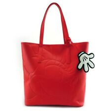 Minnie Mouse Tote Purse Red Debossed with Bag Charm Loungefly Licensed Large