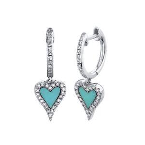 14K White Gold Heart Turquoise Diamond Drop Earrings 0.57TCW Love Dangle Womens