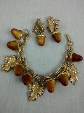 Stunning vintage Florenza acorn gold tone leaves  bracelet earrings set