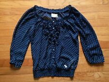 ABERCROMBIE & FITCH Women Navy White Polka Dot Blouse SIZE S Cute for Summer!