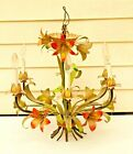 1940 Italian Painted Tole Lily Flowers Chandelier Ceiling Vintage 6 Arm Lights