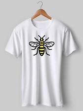TShirt Manchester Bee Printed White tee t shirt Yellow Black worker Christmas