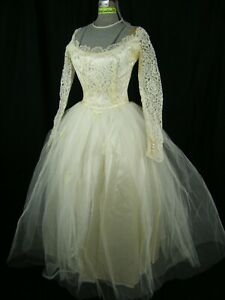 Vtg 50s Ivory Illusion Lace Tulle Wedding Dress-Bust 32/3XS-2XS, AS-IS/Project