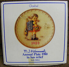 """Vtg. 1980 Hummel Hand Painted Collector Plate """"School Girl"""" in Original Box"""