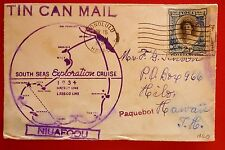 "Tonga 1936 "" Tic Can Mail"" Cover from Niuafoou to Honolulu Original W.G.Quensell"