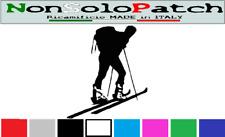 Adesivo Vinile Prespaziato sciatore alpinista sci alpino con Nome Personalizzato