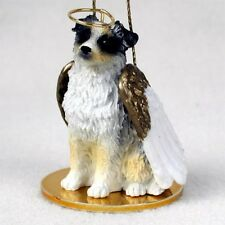 Australian Shepherd dog Angel Ornament Figurine Christmas Blue Merle Aussie
