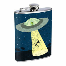 Vintage Alien Abduction D10 Flask 8oz Stainless Steel Hip Drinking Whiskey