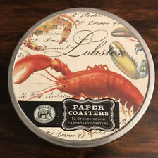 Lobster Cardboard Round Coasters Paper Tin -New Michel Design Works