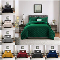 Luxury Crushed Velvet Quilted Bedspread Double King Size Bed Throw Bedding Sets