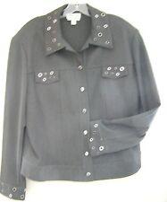 St John Marie Grey ~ Holt Renfrew ~ Gray Jacket Silver Rivet Stud Large GORGEOUS