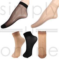 10 x Pairs Ladies 20 DENIER Sheer Ankle High Trouser Pop Socks UK ONE SIZE (4-7)
