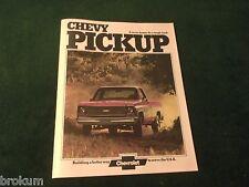 MINT CHEVROLET 1974 CHEVY PICKUP STEPSIDE FLEETSIDE SALES BROCHURE NEW (BOX 386)