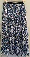 Lane Bryant Womens Plus Size 22/24 Tiered Ruffle Skirt Abstract Blue Black White