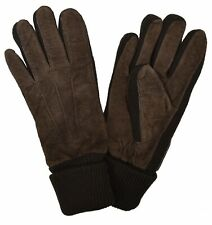 Brooks Brother Men's Suede Leather Gloves, Dark Brown, Size Small, 8179-6