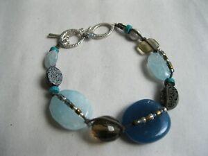 Silpada Watercolors Toggle Bracelet, B2240, Ster.Silver/Blue Quartzite/Agate