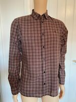 All Saints Brown White Check Smart Casual Mens Shirt M Medium Long Sleeve 21""