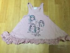 GIRLS NEXT DUSKY PINK FLARED VEST TOP WITH FRILLED HEM AGE 7 ~ 122cm GC