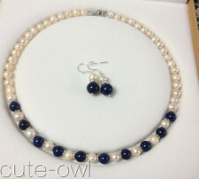 7-8mm White Akoya Cultured Pearl/Lapis Lazuli necklace 18'' earrings AAA+
