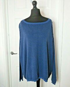 BIBICO by Snow Ladies Jumper Sweatshirt Thin Knit UK Large Blue Stripe Crew