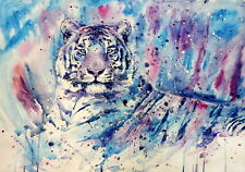Home Art Wall Decor Abstract  White Tiger Oil Painting Picture Printed On Canvas