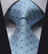 Light Blue With White & Navy Dots Silk Classic Woven Horse Show Tie *New*