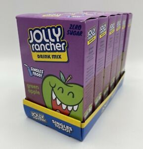 6 Boxes Jolly Rancher Drink Mix Green Apple Zero Sugar SINGLES TO GO Packets