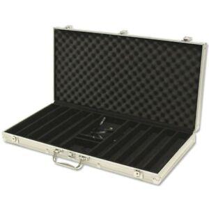 750 Capacity Poker Aluminum Poker Chip Case, Black Felt Lined Wood Interior