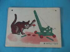 Ancienne Affiche scolaire Remi et Colette le lapin le chat joue la grue mécano