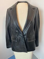 WOMENS 12P •INC Petite Black LEATHER Jacket• 1 Button Front  Lined w/ Pockets