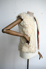 Damen Weste Lammfellweste weiß 70er True VINTAGE hippy fur vest white zum wenden