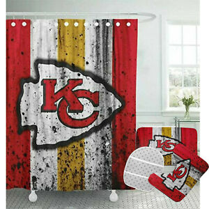 Kansas City Chiefs Bathroom Rugs 4PCS Shower Curtain An-Skid Toilet Seat Cover