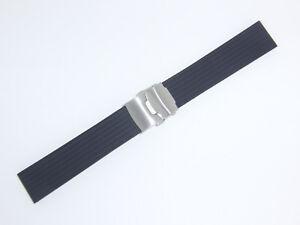 Bonetto Cinturini Rubber Watch Band Strap 22 mm Deployment Buckle, Black, 400CT
