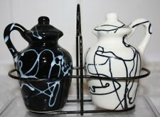Black & White County Jug Salt & Pepper Shakers with Holder Made in Japan