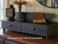 BLACK COUNTER SHELF AGED Vintage Look Farmhouse Rustic Drawers Footed Primitive